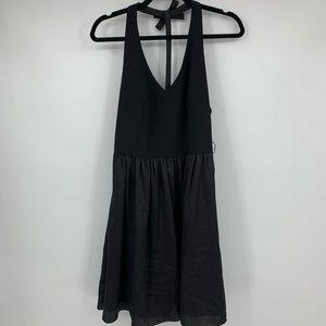 Vera Wang Dress 8 Halter V Neck Black pockets